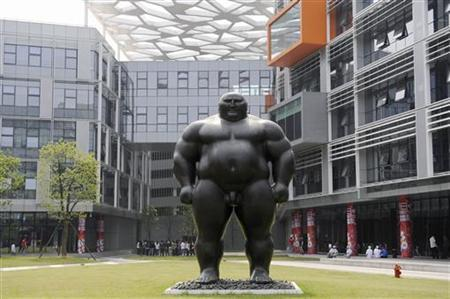 A statue stands outside the office of Alibaba Technology Co. Ltd on the outskirts of Hangzhou